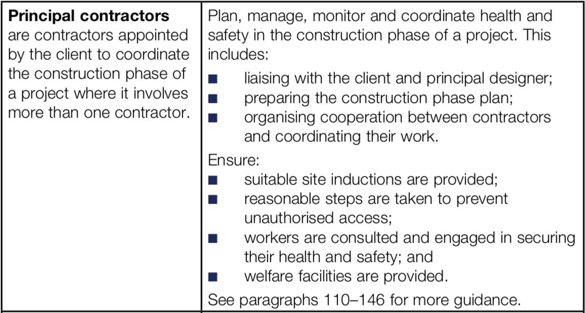 HSE Principal Contractor description